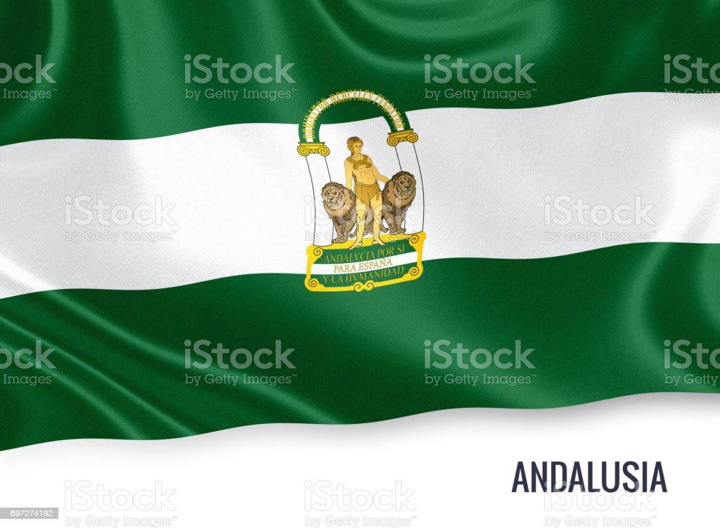 Spanish state Andalusia flag waving on an isolated white background. State name is included below the flag. 3D rendering. stock photo