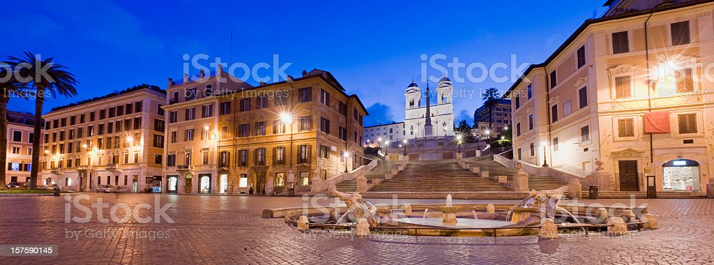 Spanish Steps and the Trinita del Monti Church Rome Italy stock photo