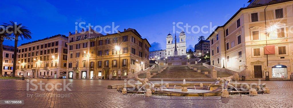 Spanish Steps and the Trinita del Monti Church Rome Italy royalty-free stock photo