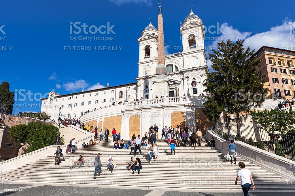 Spanish Steps and Trinita dei Monti in Rome city stock photo