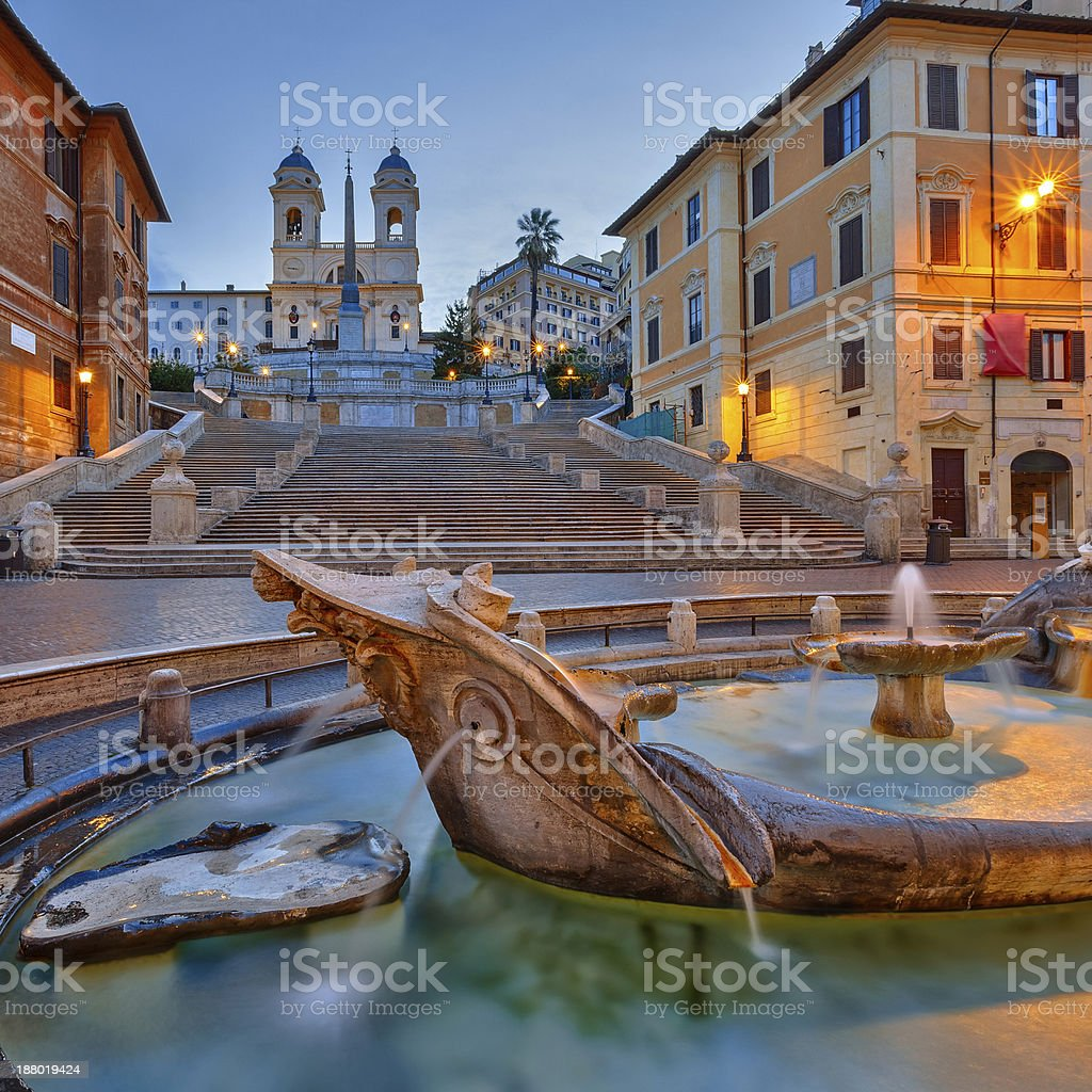 Spanish Steps at dusk, Rome stock photo