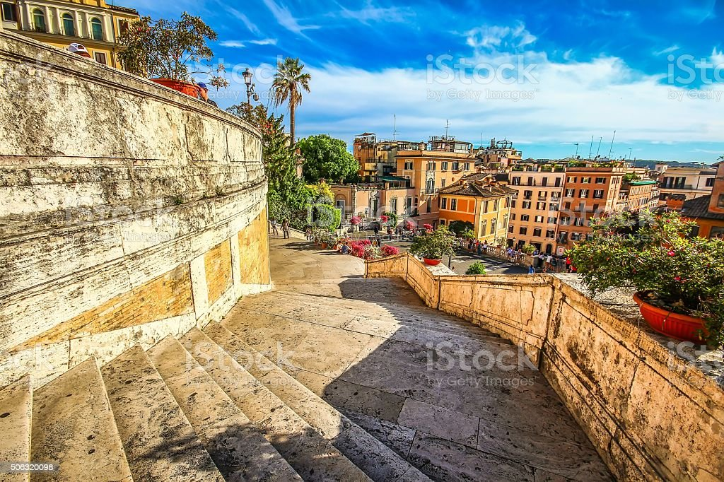 Spanish steps at Piazza di Spagna, Rome, Italy stock photo