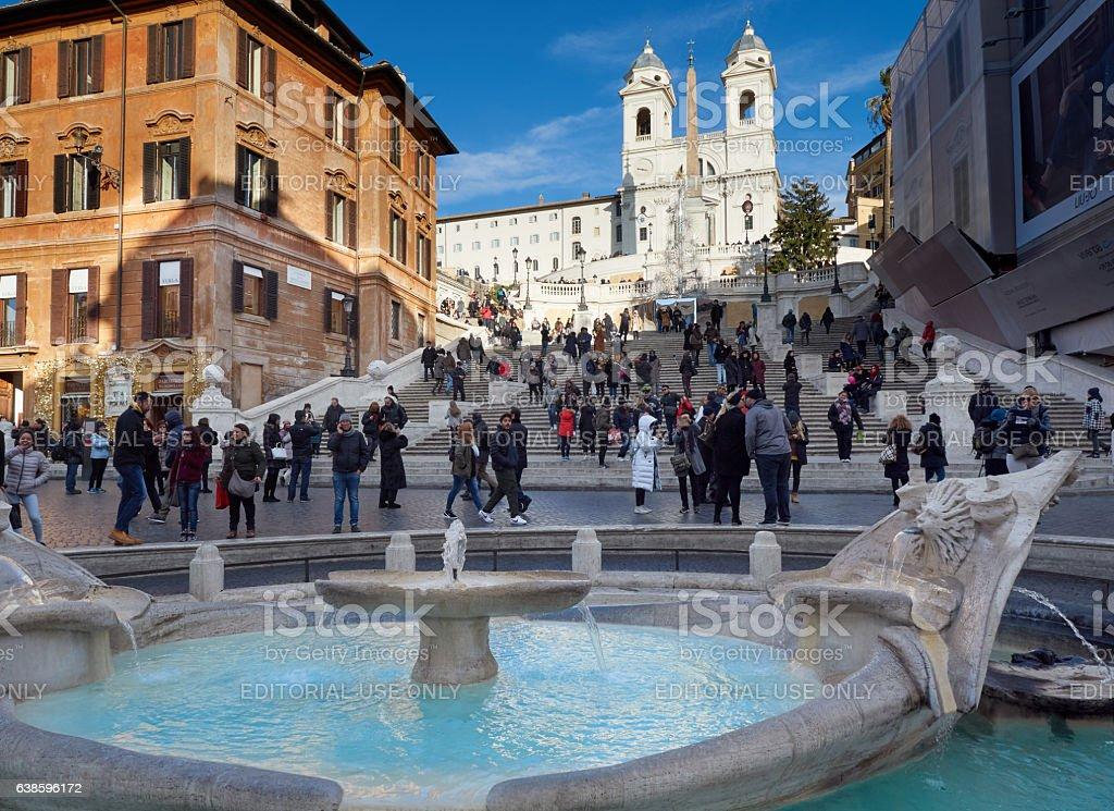 Spanish Steps barcaccia fountain Piazza di Spagna Rome stock photo