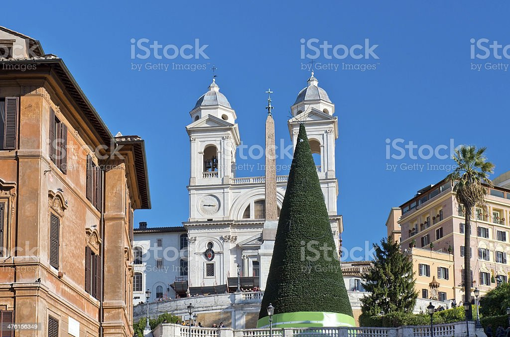 Spanish Steps in Rome before Christmas royalty-free stock photo