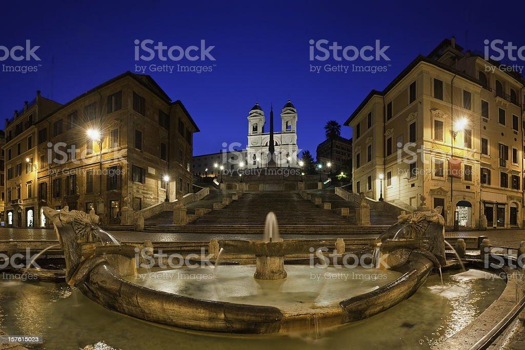 Spanish Steps Piazza di Spagna Fontana della Barcaccia Rome Italy royalty-free stock photo