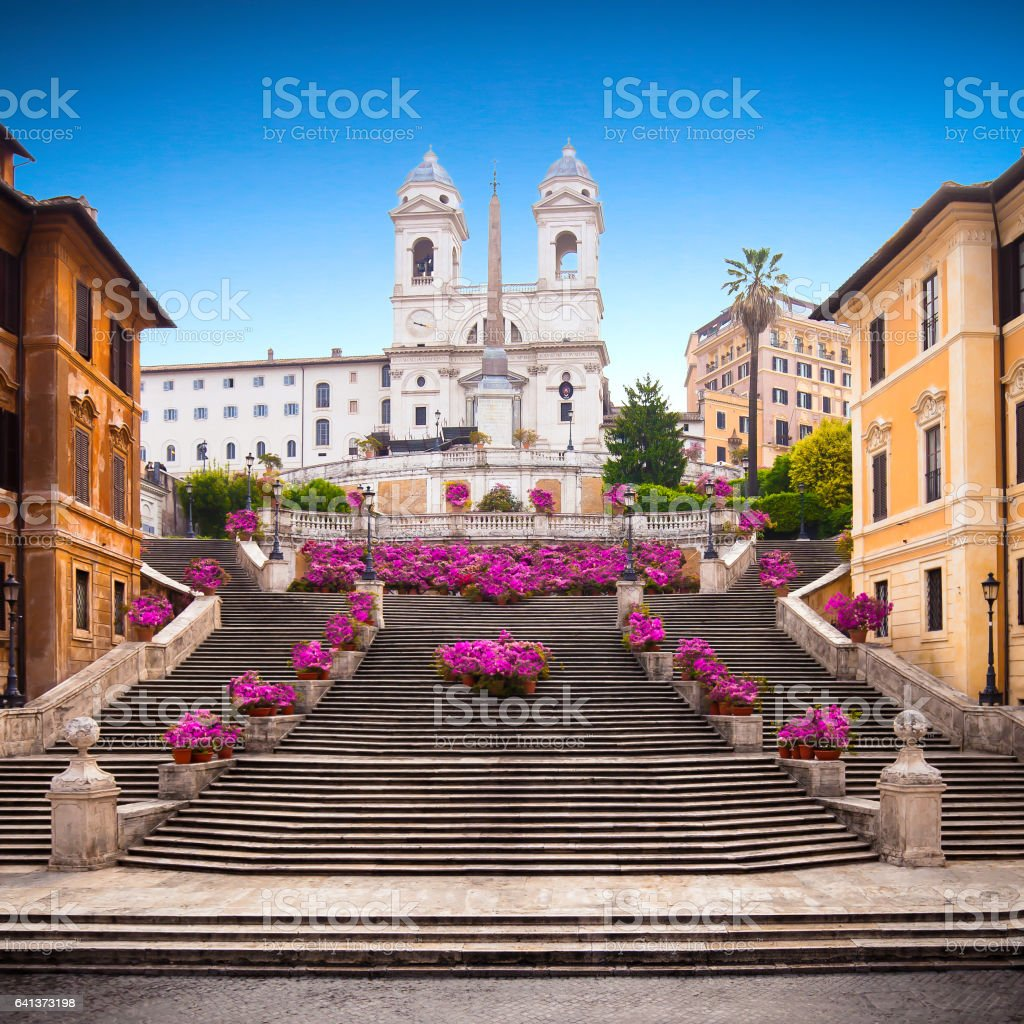 Spanish steps with azaleas at sunrise, Rome stock photo