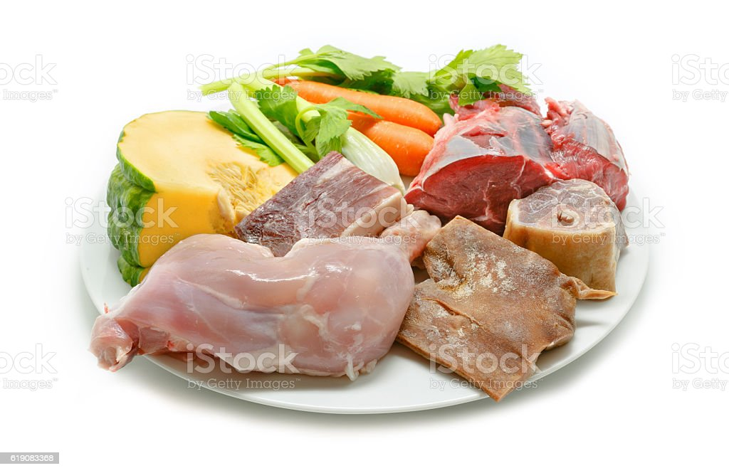 Spanish stew. Meats and vegetables isolated stock photo