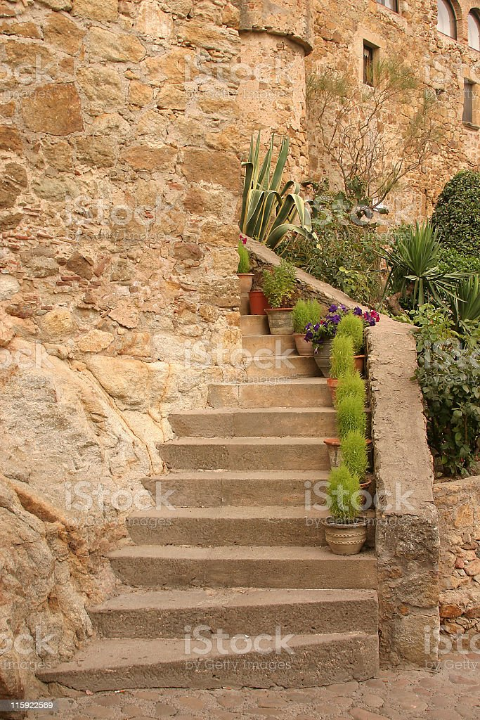Spanish stone stairway stock photo
