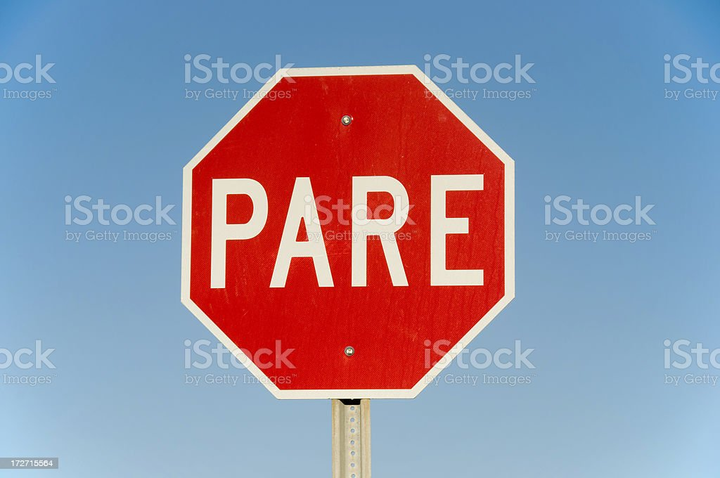 PARE! spanish stop sign royalty-free stock photo