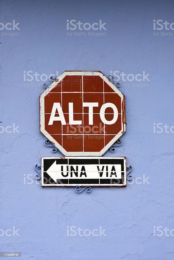 Spanish Stop Sign royalty-free stock photo