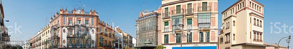 Spanish street panorama Seville Triana stock photo