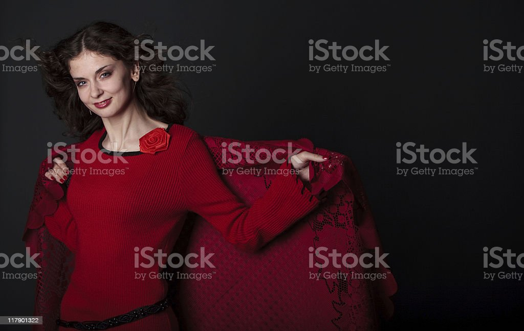 Spanish style brunette girl dance with shawl royalty-free stock photo