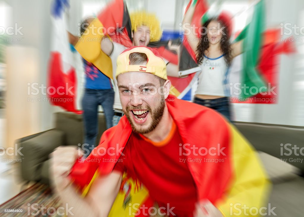 Spanish supporter rejoicing stock photo
