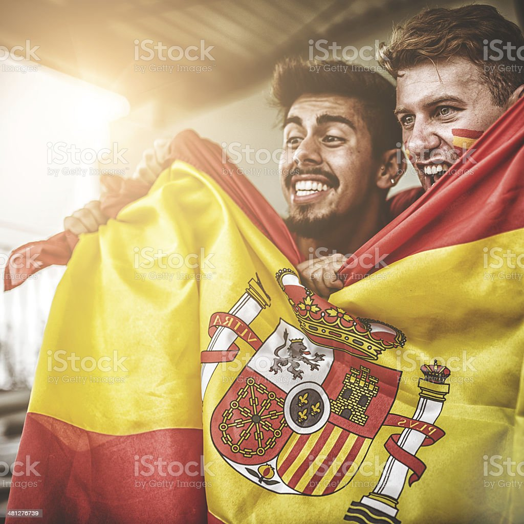 spanish supporters at stadium stock photo