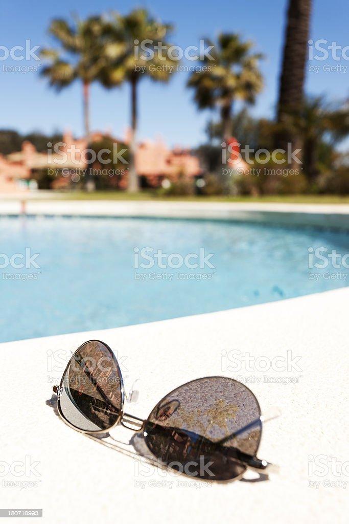 Spanish swimming pool stock photo