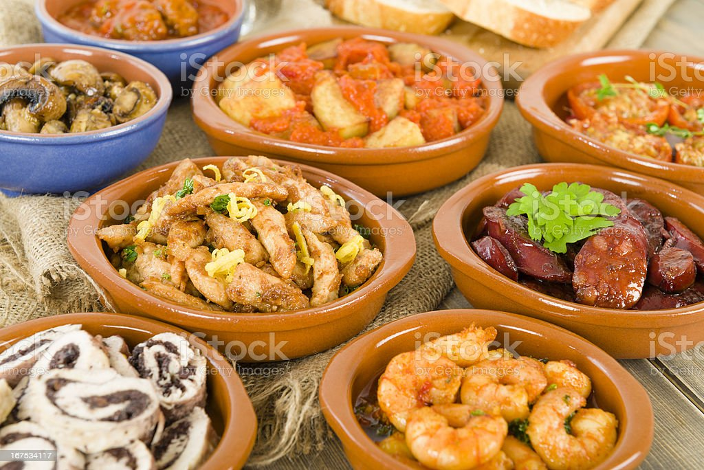 Spanish Tapas & Crusty Bread stock photo