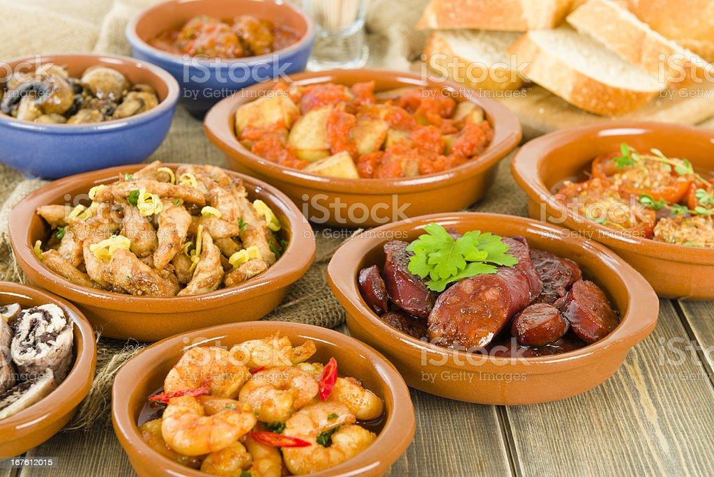 Spanish Tapas & Crusty Bread royalty-free stock photo