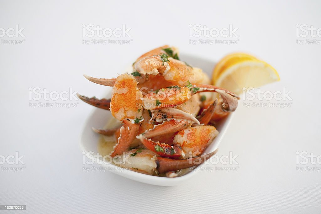 Spanish tapas crab claws in garlic butter royalty-free stock photo