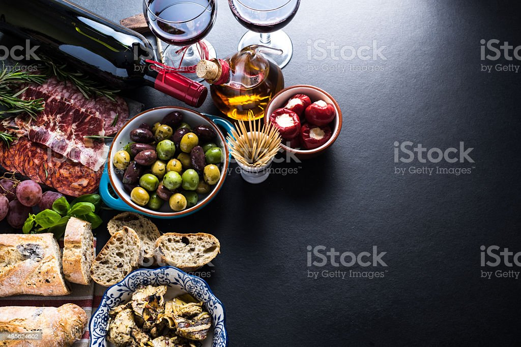 spanish tapas , food border background stock photo