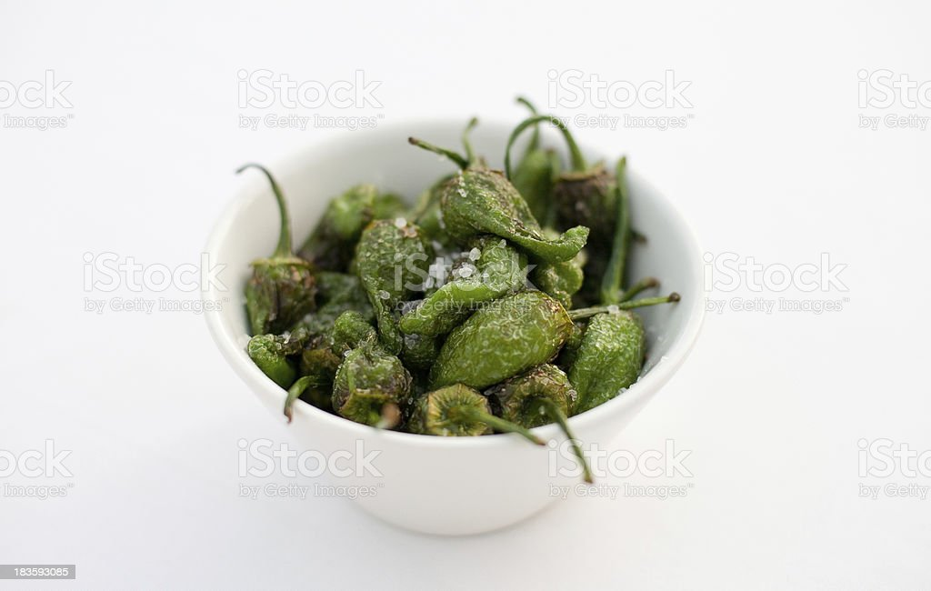 Spanish tapas green peppers pimientos padron royalty-free stock photo