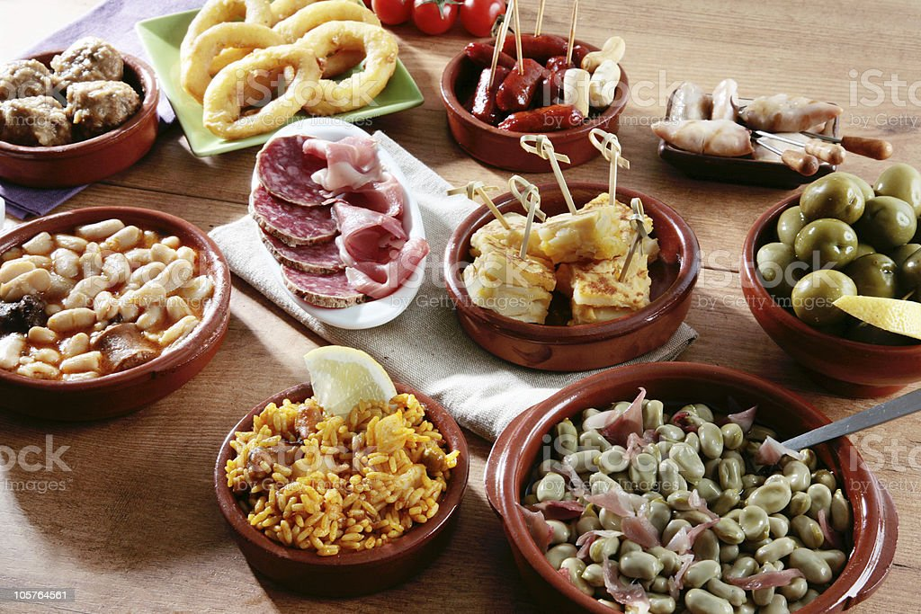 spanish tapas variety stock photo