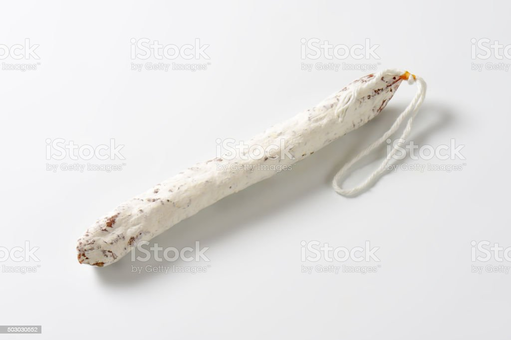Spanish thin dried sausage stock photo