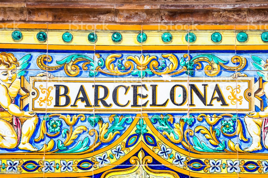 Spanish tiles close-up. City of Barcelona stock photo