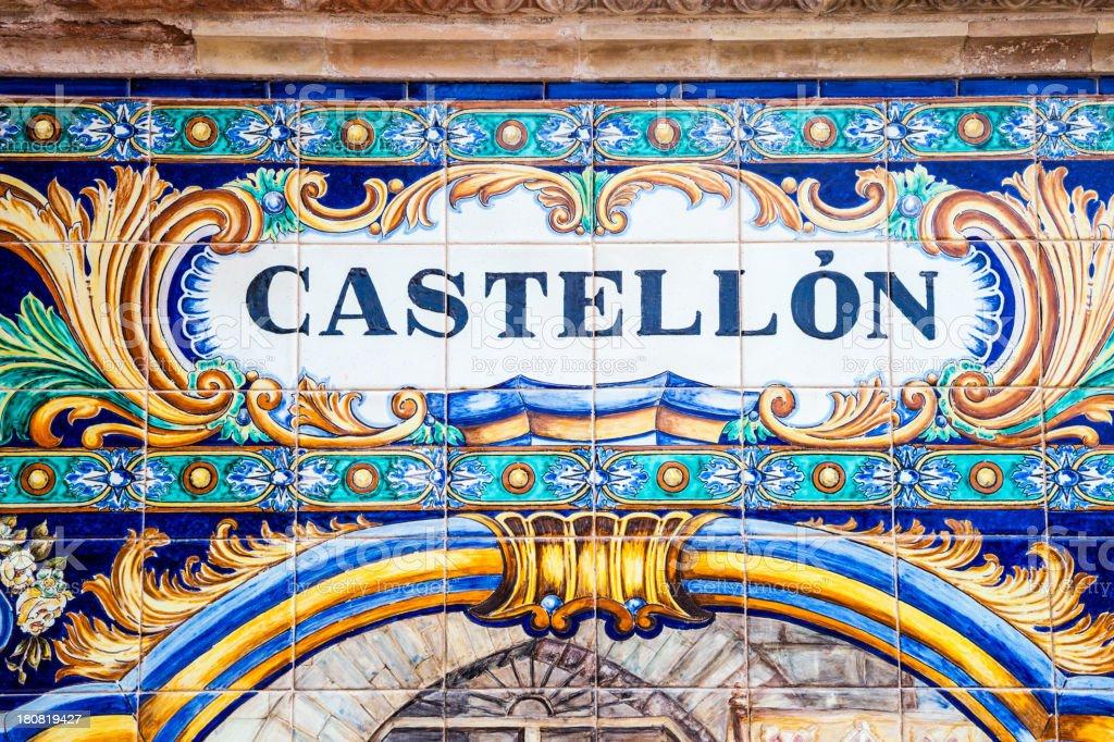 Spanish tiles close-up. Province of CastellAn stock photo