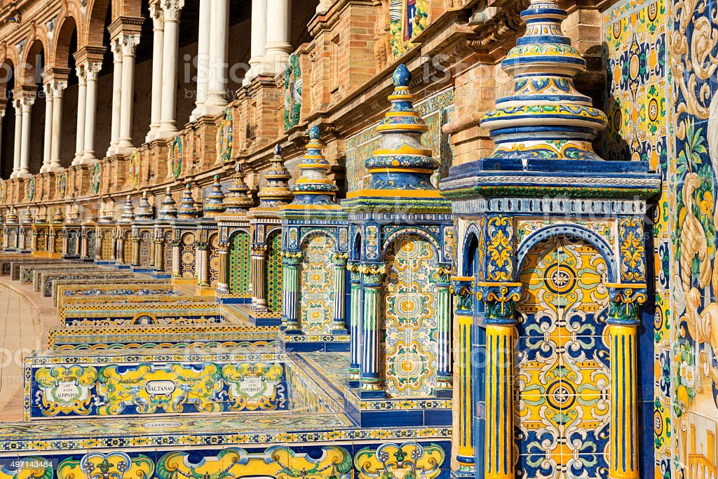 Spanish tiles in Plaza de España in Sevilla stock photo