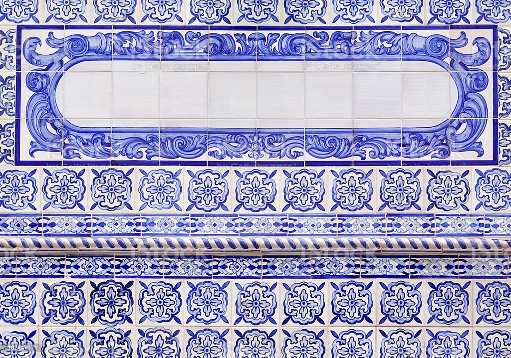 Spanish Tiles with Text Panel royalty-free stock photo
