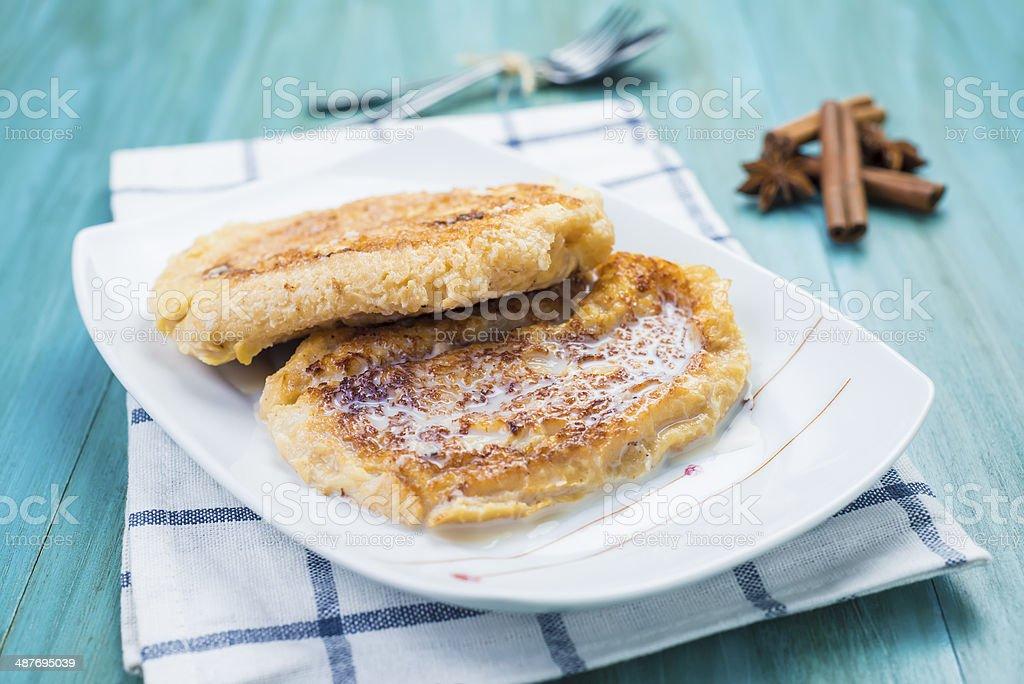 Spanish torrijas, eggy bread, french toast stock photo