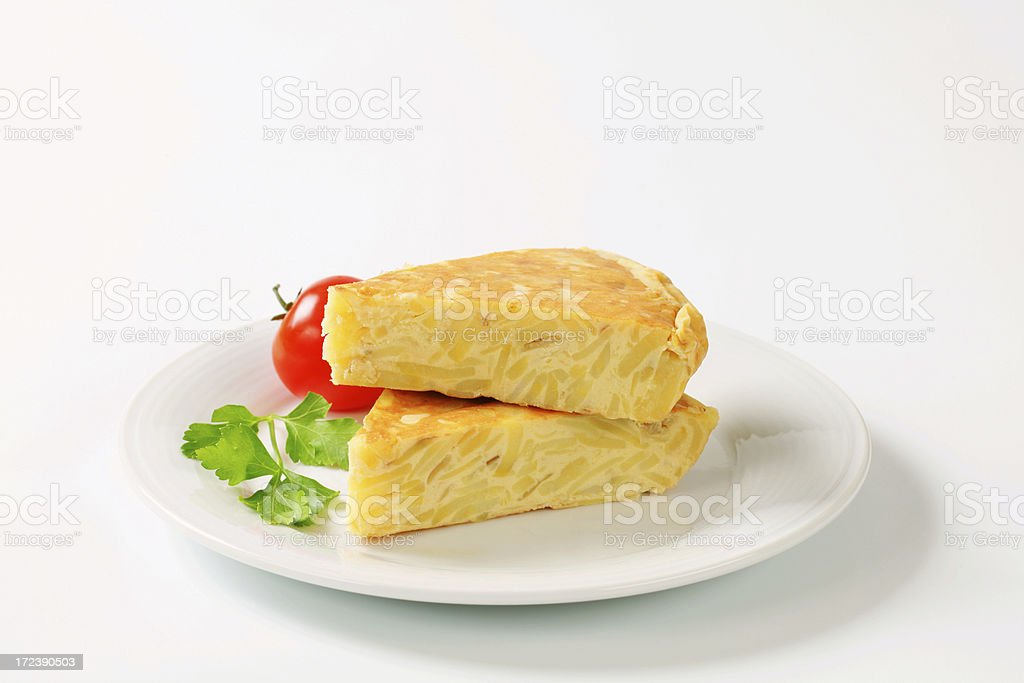 spanish tortilla slices royalty-free stock photo