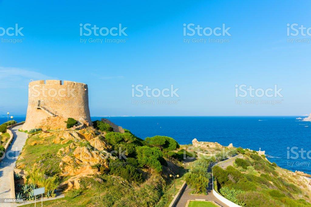 Spanish tower at Santa Teresa Gallura Sardinia, Italy stock photo