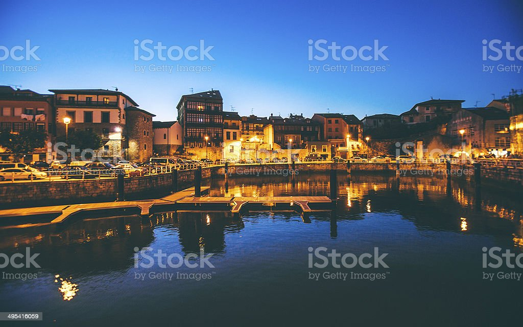 Spanish town after sunset. stock photo