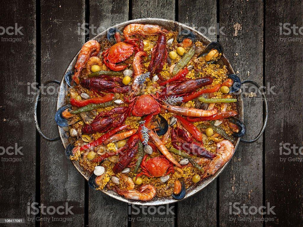 Spanish Traditional Seafood Paella stock photo