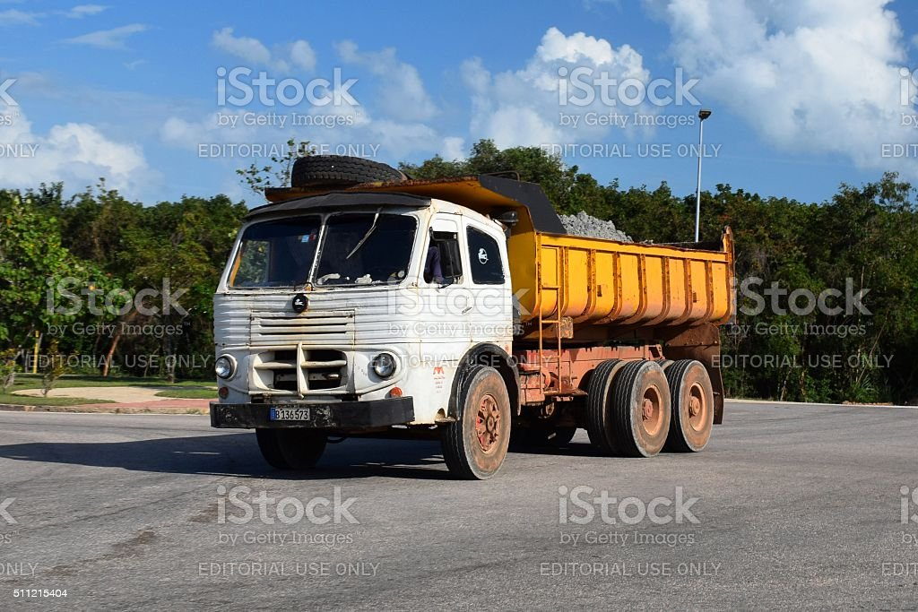 Spanish truck Pegaso driving on the street stock photo
