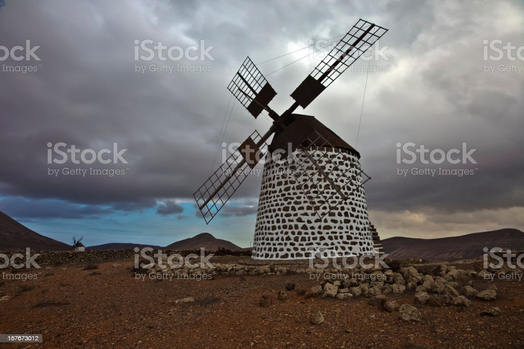 Spanish Windmill Fuerteventura stock photo