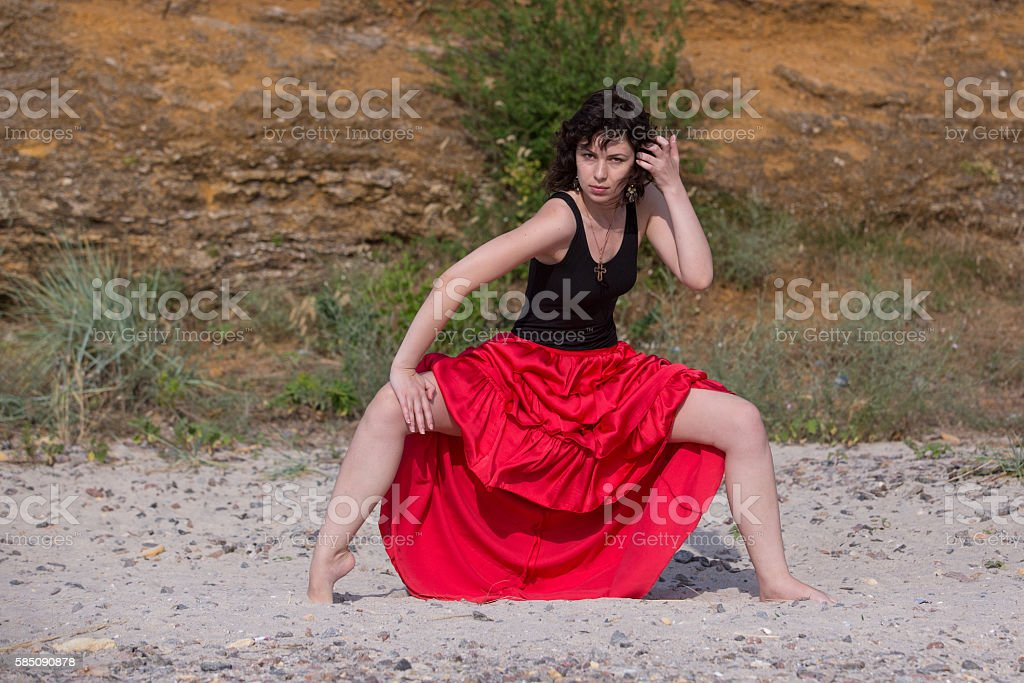 Spanish woman dancing royalty-free stock photo