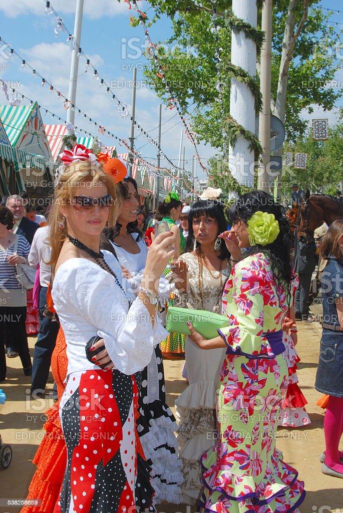 Spanish women at the Seville Fair. stock photo