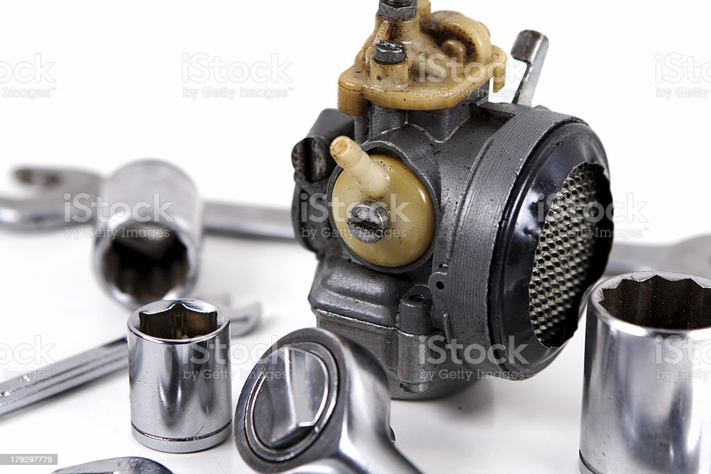 spanners and carburetor royalty-free stock photo