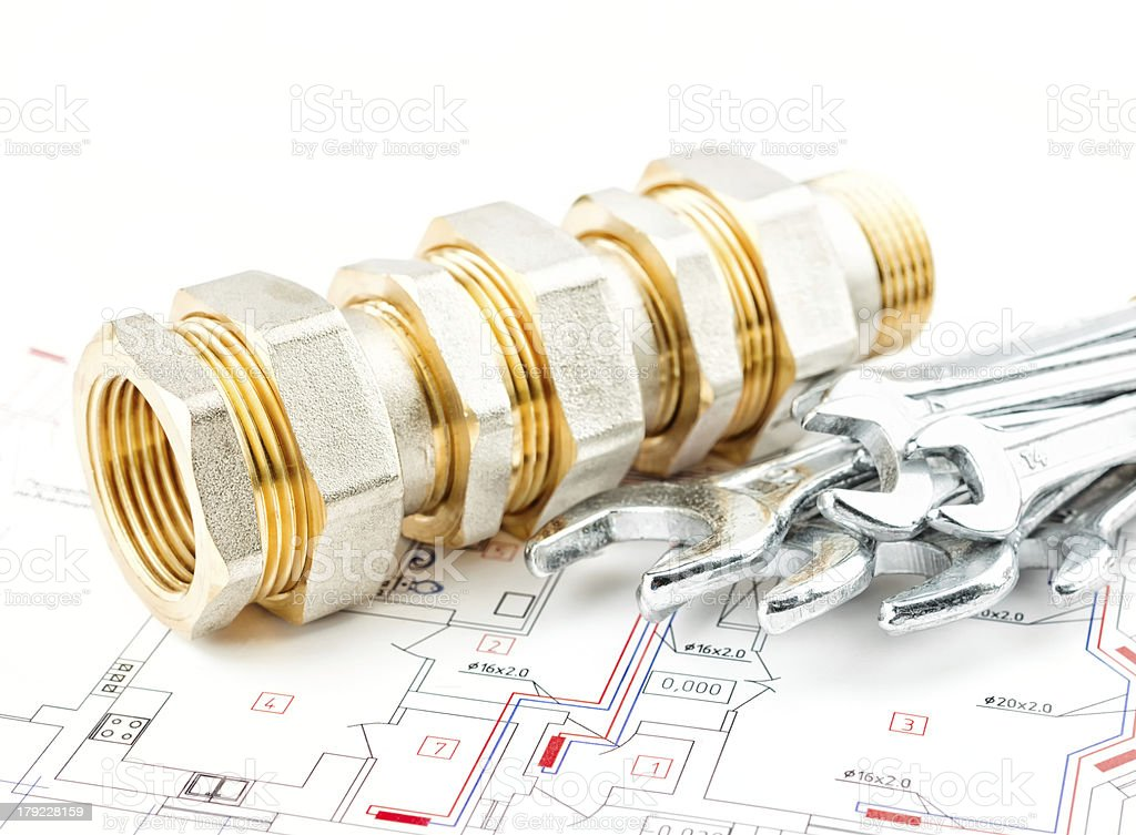 spanners and fitting royalty-free stock photo
