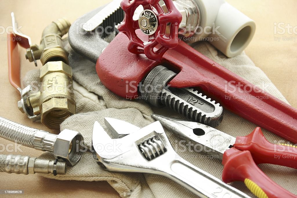Spanners and other plumbing tools stock photo