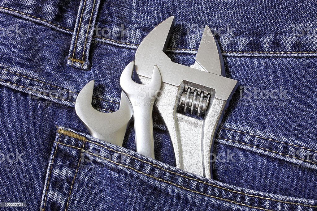 Spanners in pocket royalty-free stock photo