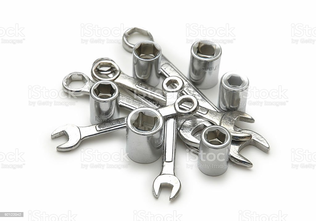 Spanners of various sizes isolated on the white royalty-free stock photo