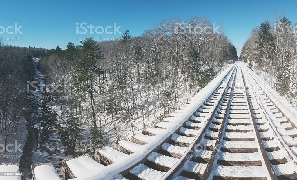 Spanning a Winter Valley stock photo