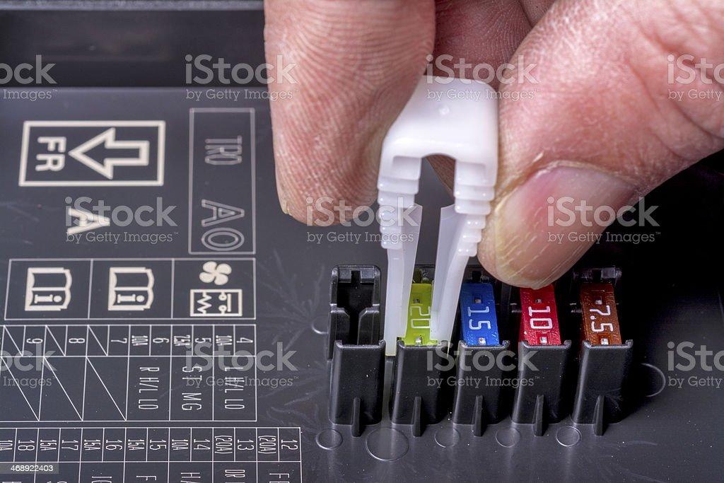 Spare aumobile fuses and unique tool stock photo