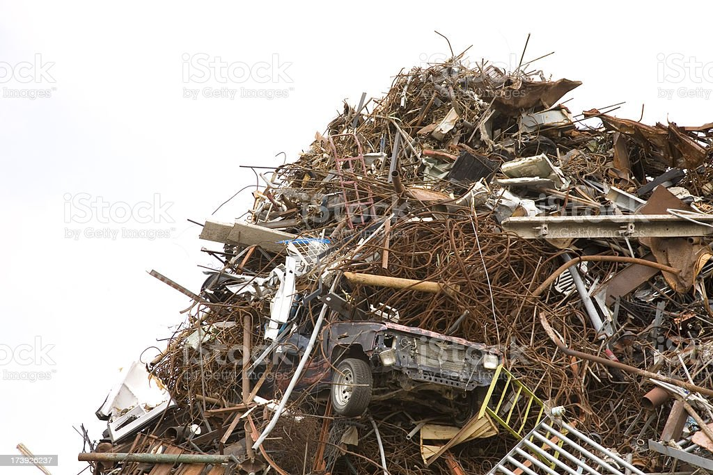 Spare Metal Pile in Recycling Plant. Copy Space Available royalty-free stock photo