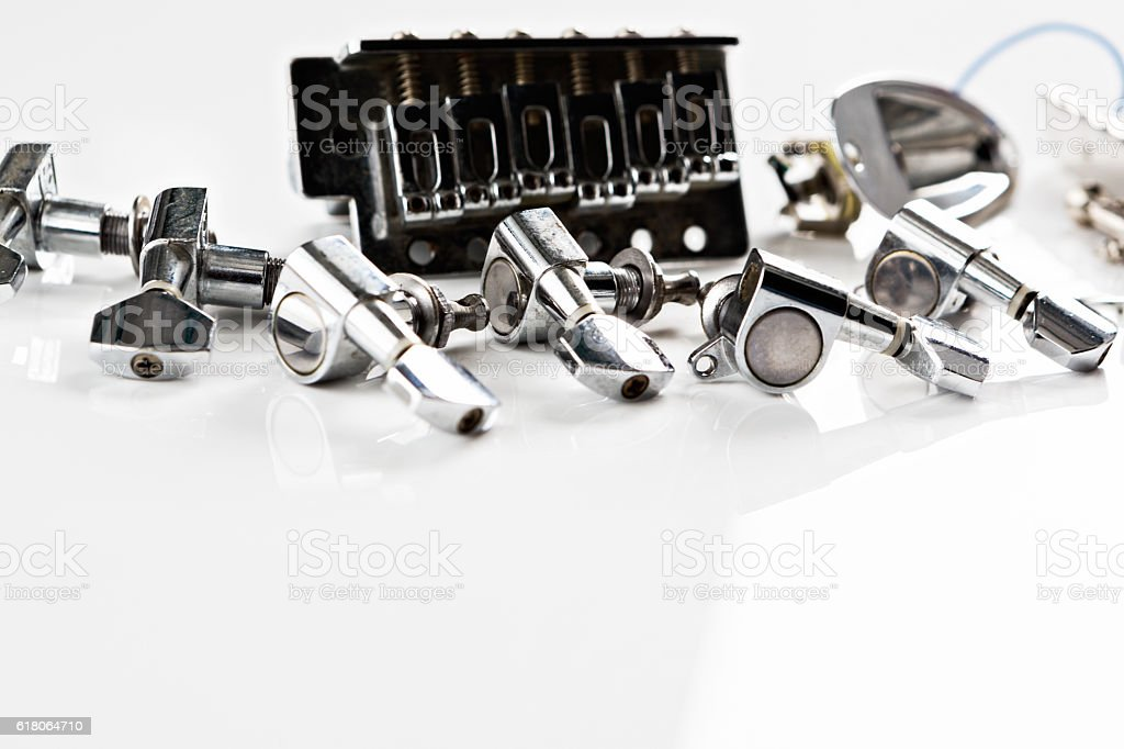 Spare parts for an electric guitar stock photo