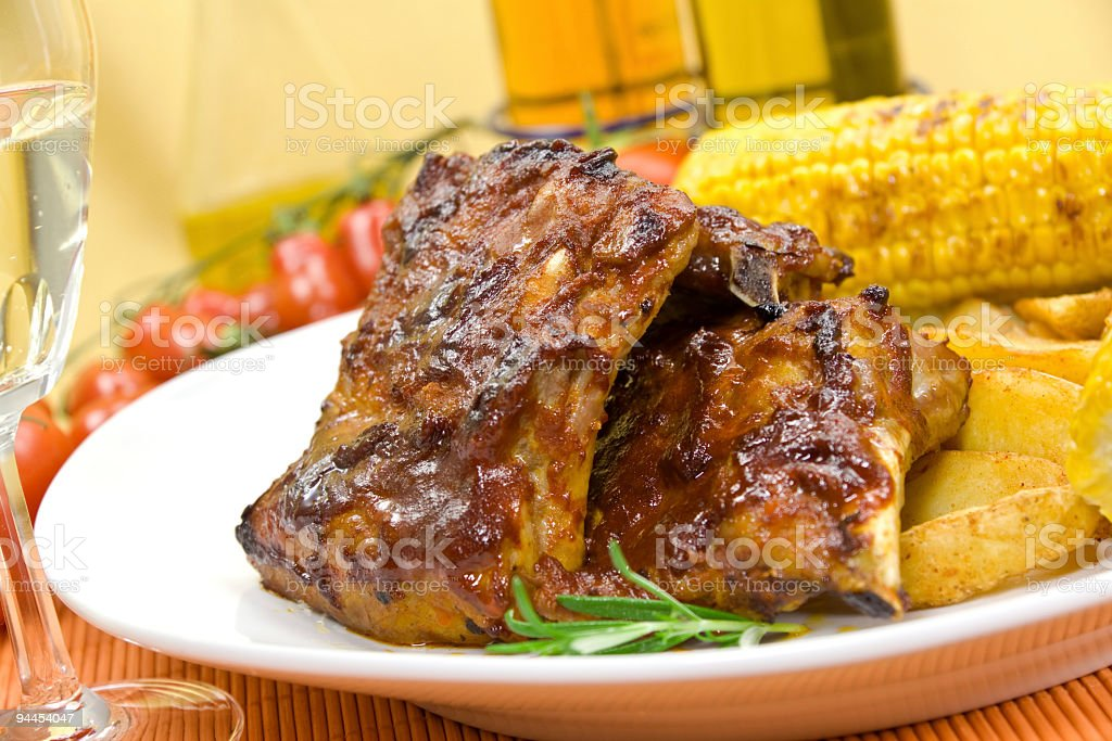 Spare Ribs with Corn on the Cob - Grilled royalty-free stock photo