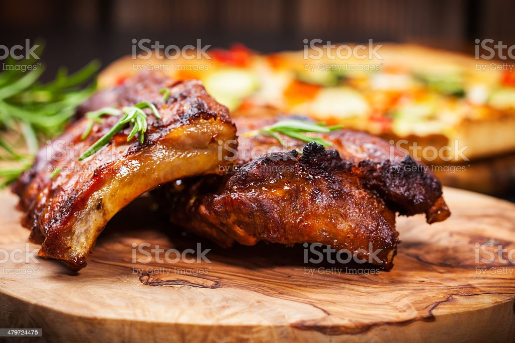 BBQ spare ribs with herbs stock photo